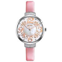 女士石英手表防水皮带个性腕表水钻贝壳面指针时装商务女表
