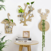 物有物语 水培花瓶 创意实木水培壁挂家居店面墙面装饰品绿萝壁饰透明玻璃瓶
