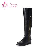 达芙妮女鞋 冬季英伦时尚女靴舒适坡跟侧拉链长筒女靴