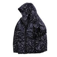 潮牌大码男装加大加肥胖子黑色带帽棉衣满身划痕条纹男士冬季 黑色