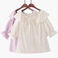 2018夏季新款韩版荷叶边蝴蝶结系带泡泡袖雪纺衫娃娃衫甜美衬衫