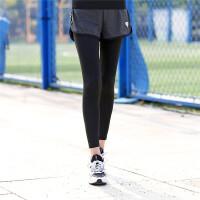 瑜伽裤女紧身弹力宽松跑步健身裤跑步裤子长裤秋冬款假两件运动裤