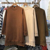 C3半高领中长款套头毛衣裙女装秋冬钉珠针织衫打底连衣裙0.55