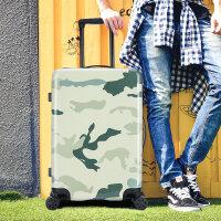 七夕礼物行李箱拉杆箱旅行箱硬箱男女韩版迷彩箱子20/24寸万向轮潮 军绿 24寸