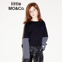 littlemoco童装秋季新品儿童T恤绒面圆领长袖T恤假两件条纹大童
