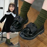 女童软底公主皮鞋英伦风儿童单鞋中大童黑色鞋子