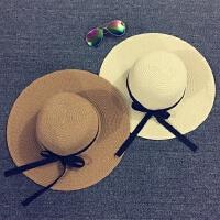 儿童草帽母女童夏天遮阳帽沙滩帽大沿韩版潮度假出游可折叠亲子帽