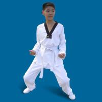 儿童男女款初学条纹大人初学跆拳道 涤棉跆拳道服训练服装 长袖(白色)