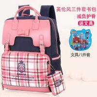 小学生书包女生韩版1-3-5年级英伦风双肩背包女童书包10岁