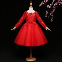 钢琴演出服秋冬新款长袖蓬蓬裙 儿童礼服女花童礼服女童生日公主裙