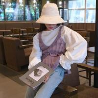 韩观2017秋装新款韩版学院风ulzzang针织衫外套荷叶边毛衣女马甲背心SN097 均码
