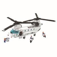 儿童积木玩具 支奴干运输直升飞机拼装积木玩具军事飞机模型男孩儿童礼盒装生日礼物