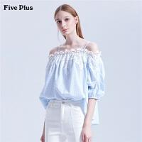 Five Plus2019新款女夏装格子衬衫女宽松一字肩衬衣纯棉刺绣拼接