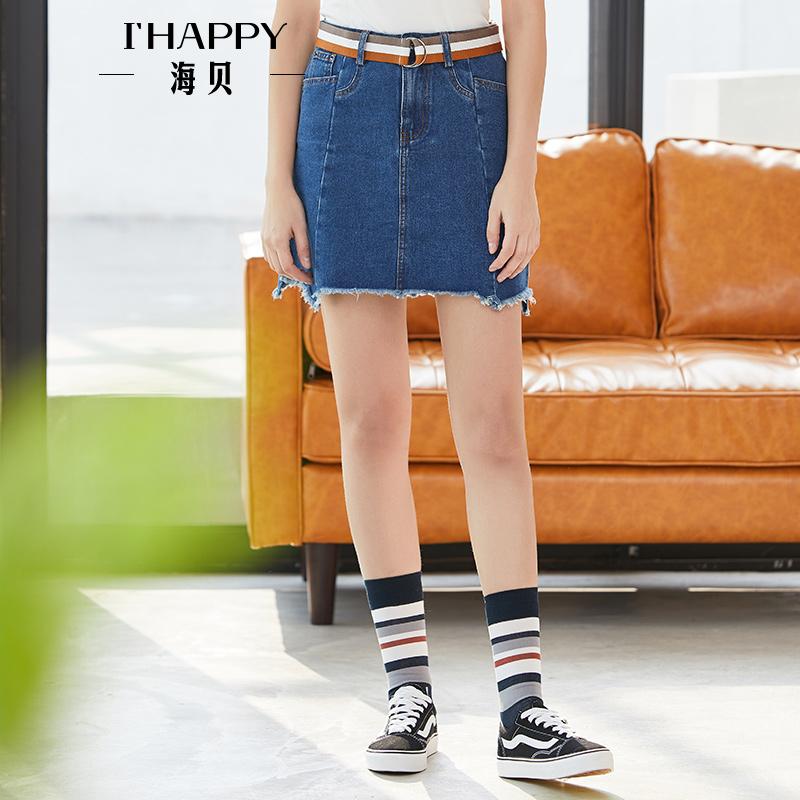 海贝2018夏装新款女 高腰不规则毛边下摆蓝色牛仔裙A字显瘦半身裙