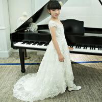 女童礼服花童婚纱拖尾礼服 秋冬新款儿童拖尾礼服主持人表演演出服 白色