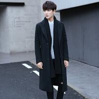 风衣男韩版秋冬季长款青年超长过膝毛呢大衣英伦呢子修身外套男装 黑色