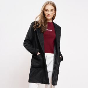 A21女装翻领宽松中长款夹层外套 简约女生上衣休闲长袖毛呢大衣女
