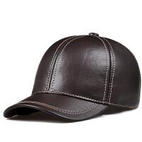 秋冬季中老年男士休闲真皮帽护耳帽子鸭舌帽