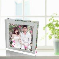【品牌热卖】亚克力双面相框 正方形 6 7 8 10寸水晶摆台透明相架强磁照片框