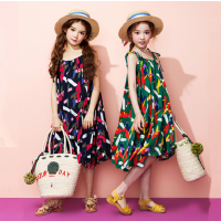 夏季女童连衣裙波西米亚大裙摆韩版中大童吊带度假沙滩长裙子
