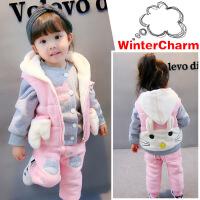 女宝2女童冬装套装2017新款0-1一3岁女5宝宝加绒卫衣马甲三件套潮