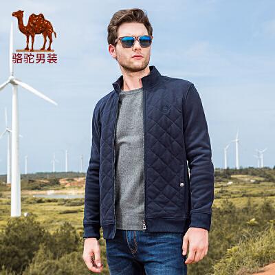 骆驼男装 秋季新款立领无弹休闲夹克男青年开衫纯色外套