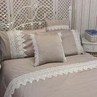 新品 床品套件 纯棉贡缎蕾丝床上用品四件套