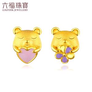 六福珠宝zing可爱小熊珐琅工艺黄金耳钉耳环不对称耳饰 GDGTBE0009