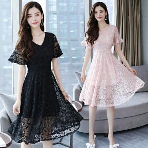 2018夏季新款气质显瘦V领初恋裙中长款小清新蕾丝连衣裙
