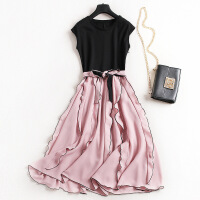 夏季热卖款纯色蝴蝶结系带连衣裙撞色荷叶边背心裙假两件套6853 粉色