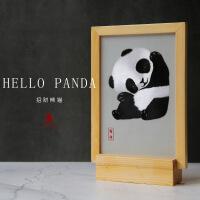 蜀绣双面绣熊猫刺绣屏风工艺品新中式摆件商务礼品送老外出国礼物