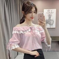 夏季韩版宽松一字领拼接蕾丝雪纺衫五分袖系带上衣夏荷叶袖娃娃衫