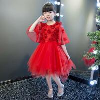 女童公主裙蓬蓬裙钢琴表演演出服 2017儿童礼服小主持人花童生日礼服女 红色