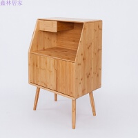欧式创意边柜客厅双开门收纳柜简约餐边柜卧室带抽屉储物柜 竹原色 组装