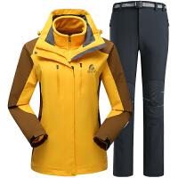 户外服装冲锋衣裤套装女三合一冲锋衣两件套加绒加厚冲锋裤防寒滑雪登山服