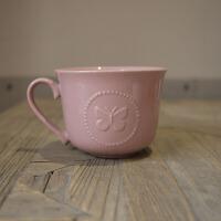 W1962出口英国陶瓷情人节优雅款香芋色白色浮雕咖啡杯/英式茶杯 香芋紫蝴蝶杯 约280ml