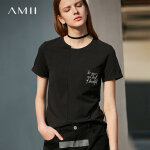 Amii 极简ulzzang港味心机T恤2018夏新贴袋印花圆领显瘦拉架棉上衣