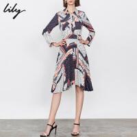 Lily2019秋新款女装不规则气质长款印花百褶长袖衬衫连衣裙7942