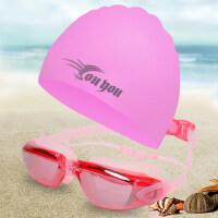 成人泳帽女防水泳镜个性长发硅胶防水通用游泳帽韩国时尚套装