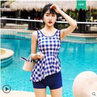 分体平角泳衣女保守新款学生韩国ins风时尚系带遮肚显瘦泳装