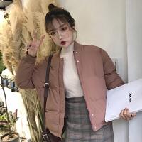 秋冬女装2017新款韩版宽松加厚羽绒棉衣单排扣面包服外套学生 均码