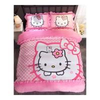韩版凯蒂猫珊瑚绒四件套加厚保暖卡通法莱绒被罩儿童床单三4件套 粉色心情