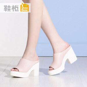 达芙妮集团 鞋柜夏季防水台高跟凉鞋简约休闲粗跟女鞋