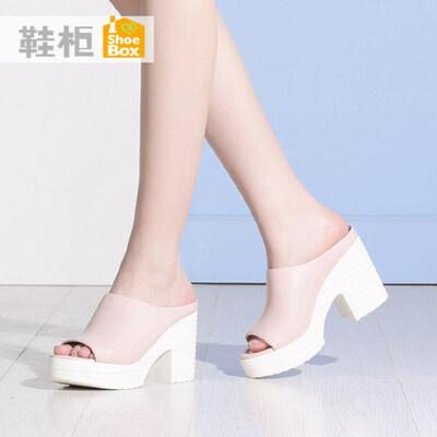 达芙妮旗下shoebox鞋柜夏季防水台高跟凉鞋简约休闲粗跟女鞋