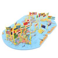 儿童益智认知世界拼图板大号世界地图木制玩具