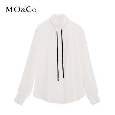 MOCO冬季新品浪漫木耳领飘带真丝上衣MA184TOP103 摩安珂 满399包邮 浪漫木耳领 轻盈真丝