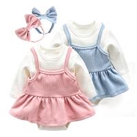 婴儿包屁衣春秋裙子新生儿套装洋气外出服秋装女宝宝连体衣三件套