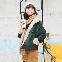 冬季兔绒灯芯绒外套女学生加绒加厚棉衣韩版宽松短款夹克上衣