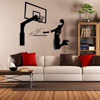 篮球墙贴NBA科比乔丹扣篮贴画宿舍壁纸客厅卧室背景墙装饰 黑色 科比扣篮 特