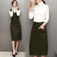 优雅套装秋冬季新款女装潮时尚毛呢套装裙半身裙名媛两件套